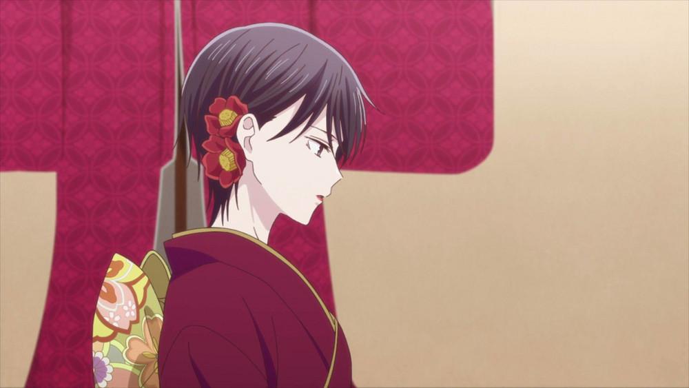 akito in a red kimino