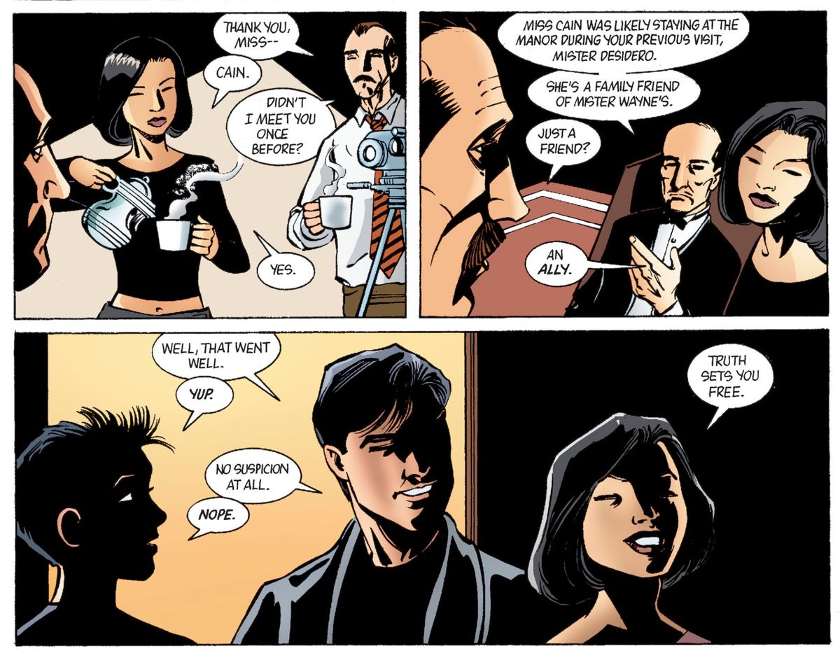"""""""She's a family friend of Mister Wayne's,"""" Alfred explains. """"Just a friend?"""" asks a social worker, suspicious. Cassandra smiles: """"An ally."""" From Batman: Gotham Knights #45, DC Comics (2003.)"""