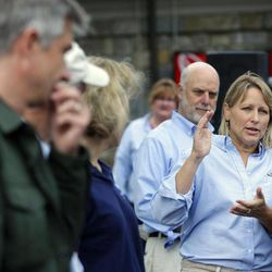 Dr. Suzan Murray, right, the Chief Veterinarian at the National Zoo, during a news conference at the National Zoo in Washington the day after it was announced that the Zoo's female giant panda gave birth to a cub, Monday, Sept. 17, 2012, in Fairfax, Va. With Murray are from left to right, Pierre Comizzoli, a reproductive physiologist, Brandie Smith, National Zoo Senior Curator, and Dennis Kelly, Dir. of National Zoo.