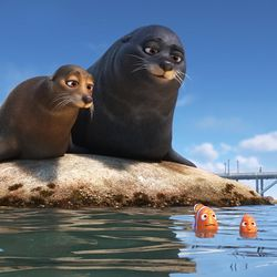 """Marlin (voice of Albert Brooks) and Nemo (voice of Hayden Rolence) get guidance from Fluke (voice of Idris Elba) and Rudder (voice of Dominic West), a pair of lazy sea lions, in an effort to catch up with Dory in """"Finding Dory."""""""