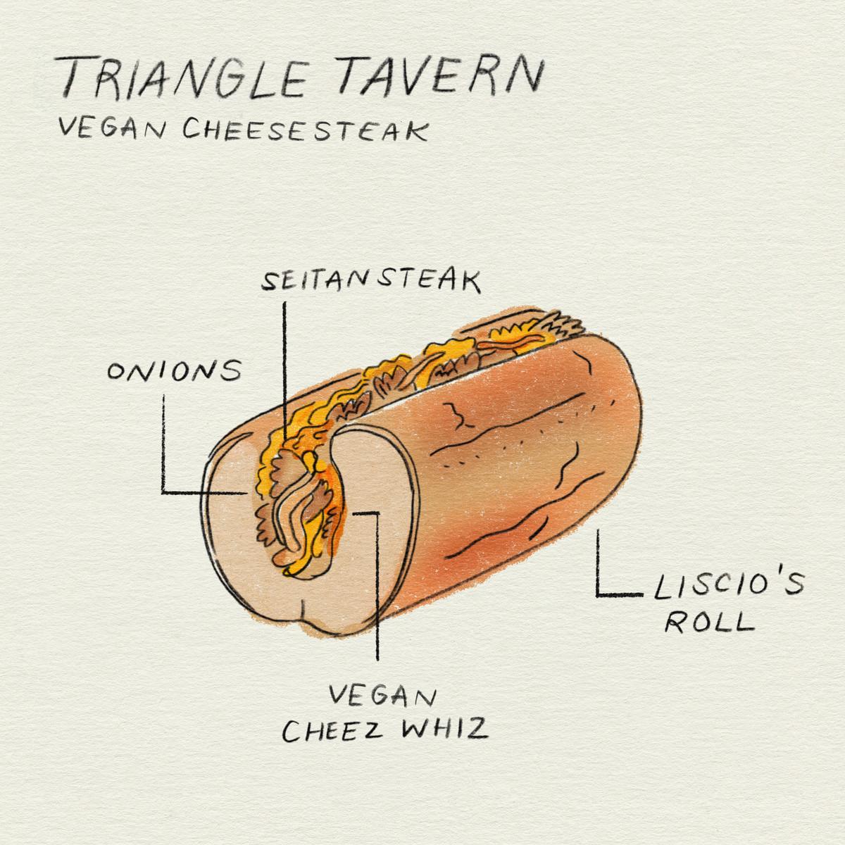 một hình minh họa về món bít tết chay với hành tây bít tết seitan và cheez whiz