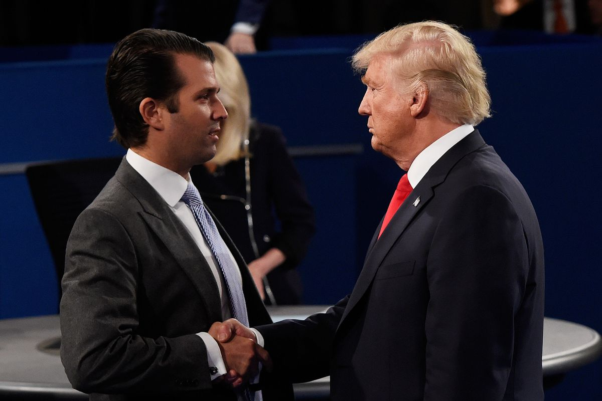 Donald Trump Jr. and his father at the second presidential debate.