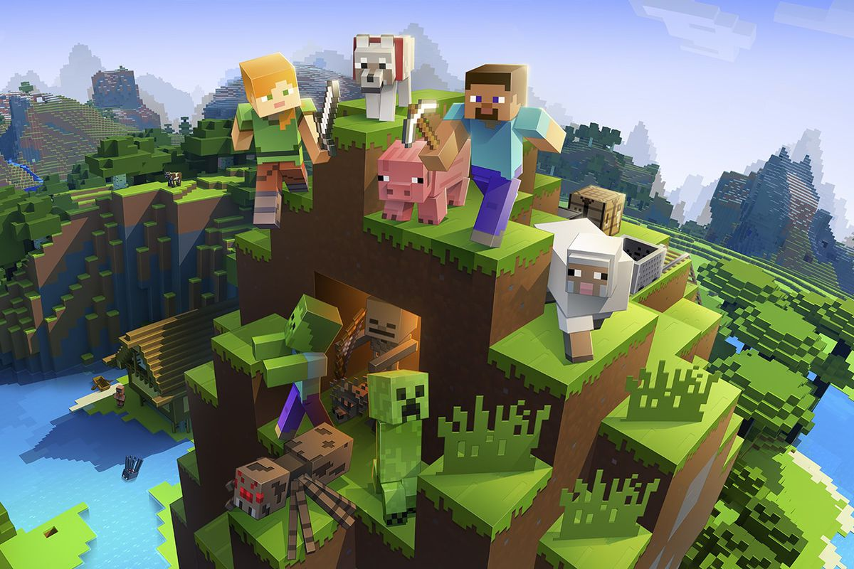 Artwork of Minecraft featuring Steve, Alex, pig, a Creeper and more on a blocky mountain.