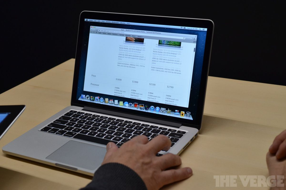 13 inch macbook pro with retina display hands on the verge. Black Bedroom Furniture Sets. Home Design Ideas