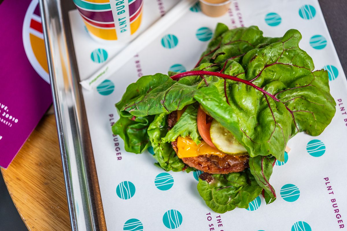 A PLNT Burger wrapped in Swiss chard