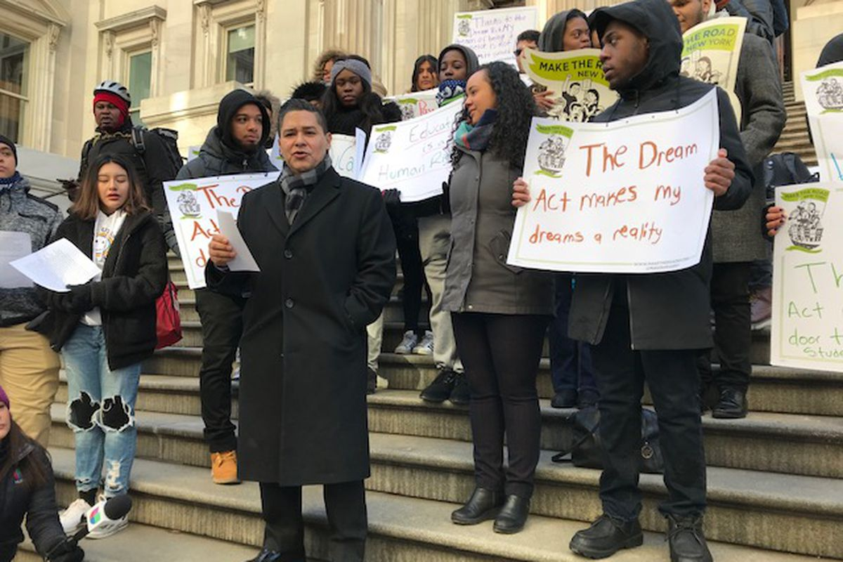 Chancellor Richard Carranza talks during a rally pushing for more awareness around the DREAM Act, held by members of immigration advocacy organization Make The Road New York.