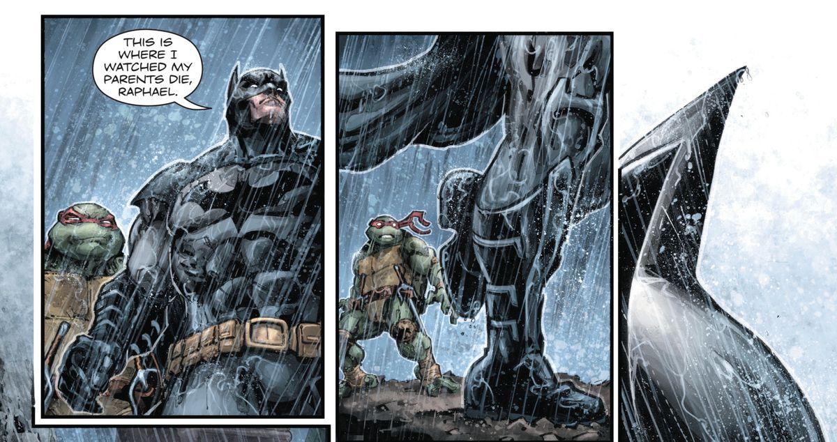 Raphael and Batman in Batman/TMNT, DC Comics, IDW Publishing (2016).