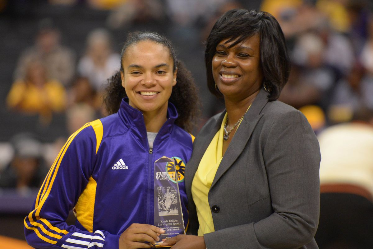 Penny Toler (right) is the LA Sparks' GM and you can bet that she's likely fielding trade offers and ideas, even if they don't materialize.