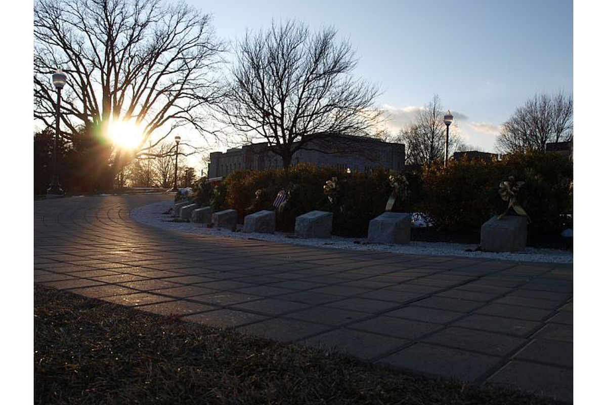 The memorial stones form an arch in front of Burruss Hall.