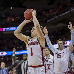 Senior Brevin Pritzl nails a corner triple to give the Badgers the lead.