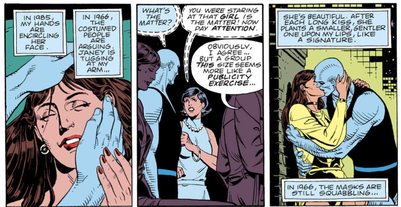 A panel from the Watchmen comic where Doctor Manhattan simultaneously sees experiences he had in 1985 and 1966.