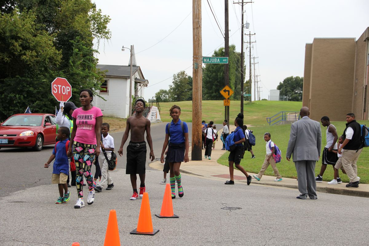 Some Riverview students walk home after finishing classes.