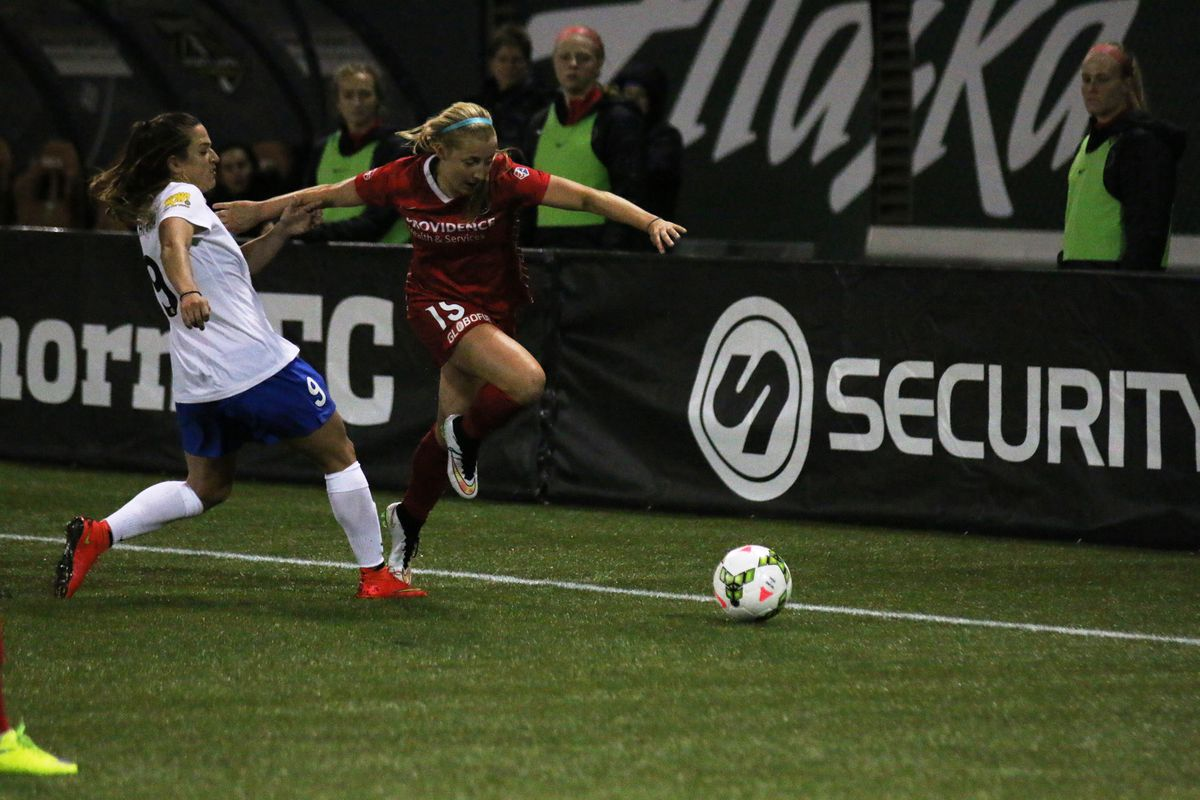 Midfielder Kendall Johnson breaks down the flank in the Thorns 4-1 home win over Boston in their 2015 NWSL season opener