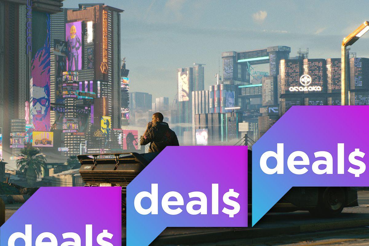 A screenshot of a man standing outside a cyberpunk landscape from Cyberpunk 2077 overlaid with the Polygon Deals logo