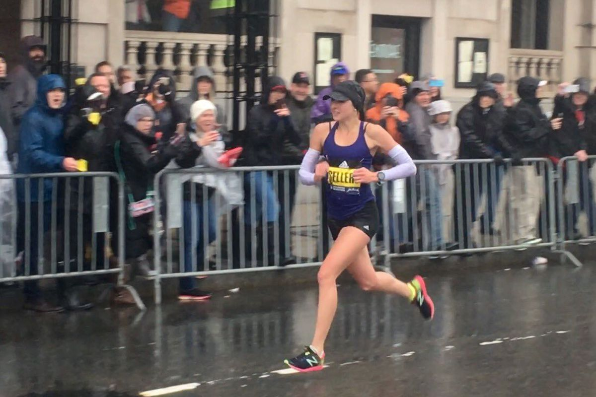 FILE: Sarah Sellers, a former Ogden High and Weber State runner, finished second in the 2018 Boston Marathon.