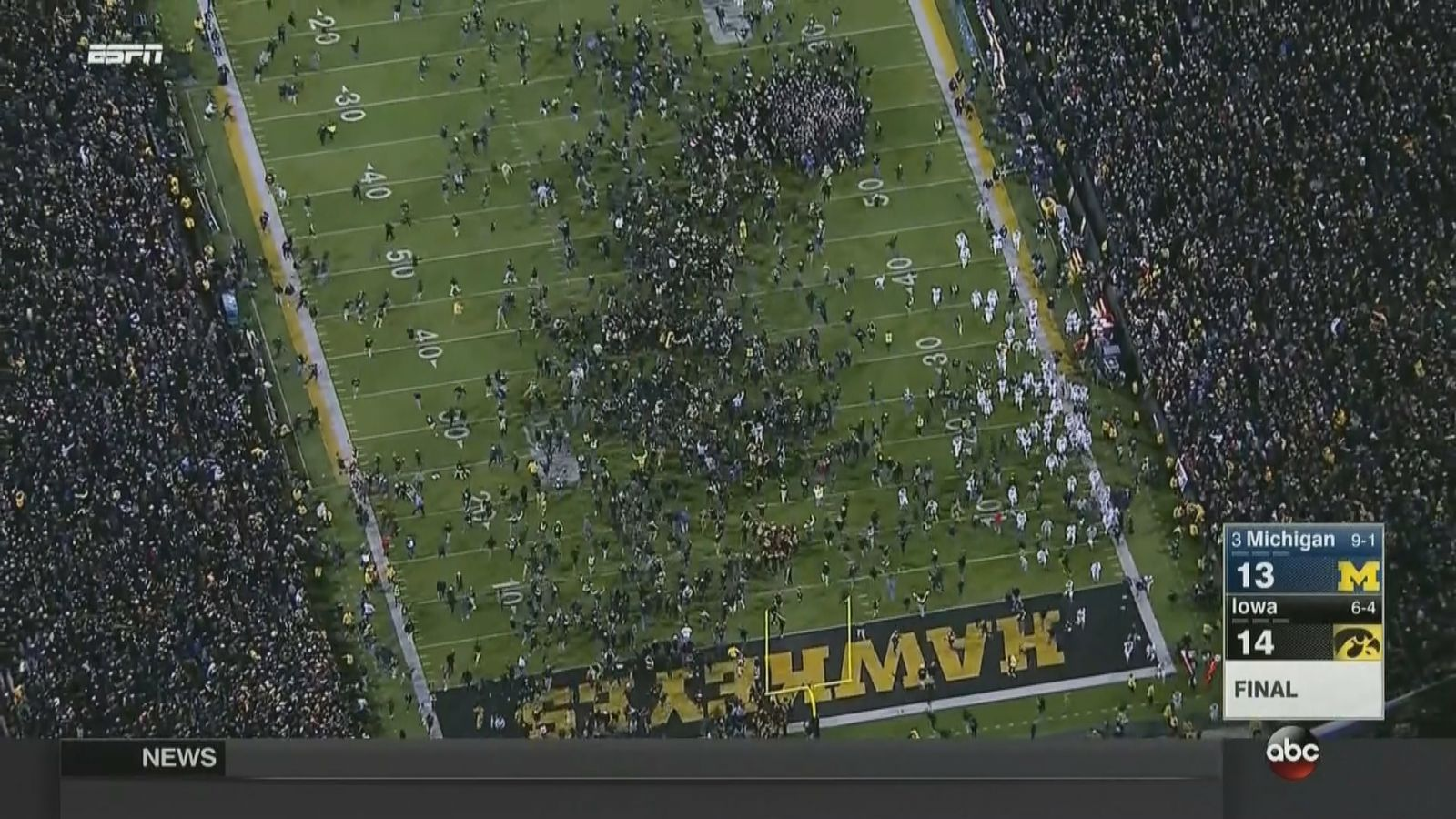 No. 3 Michigan falls to Iowa to complete Upset Saturday ...