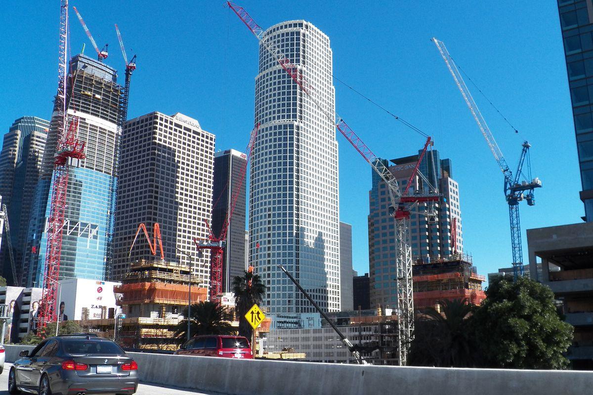 Cranes amid the Downtown LA skyline