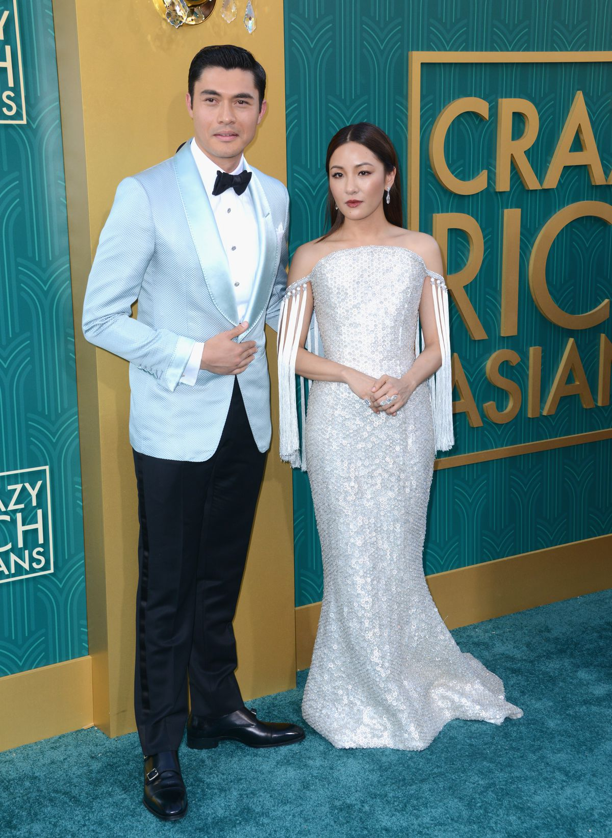 Crazy Rich Asians stars Henry Golding and Constance Wu at the film's Los Angeles premiere.