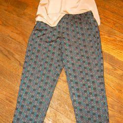 <b>Amanda Uprichard</b> Bone Silk Top, $136; <b>Ella Moss</b> Black Printed Pant, $148