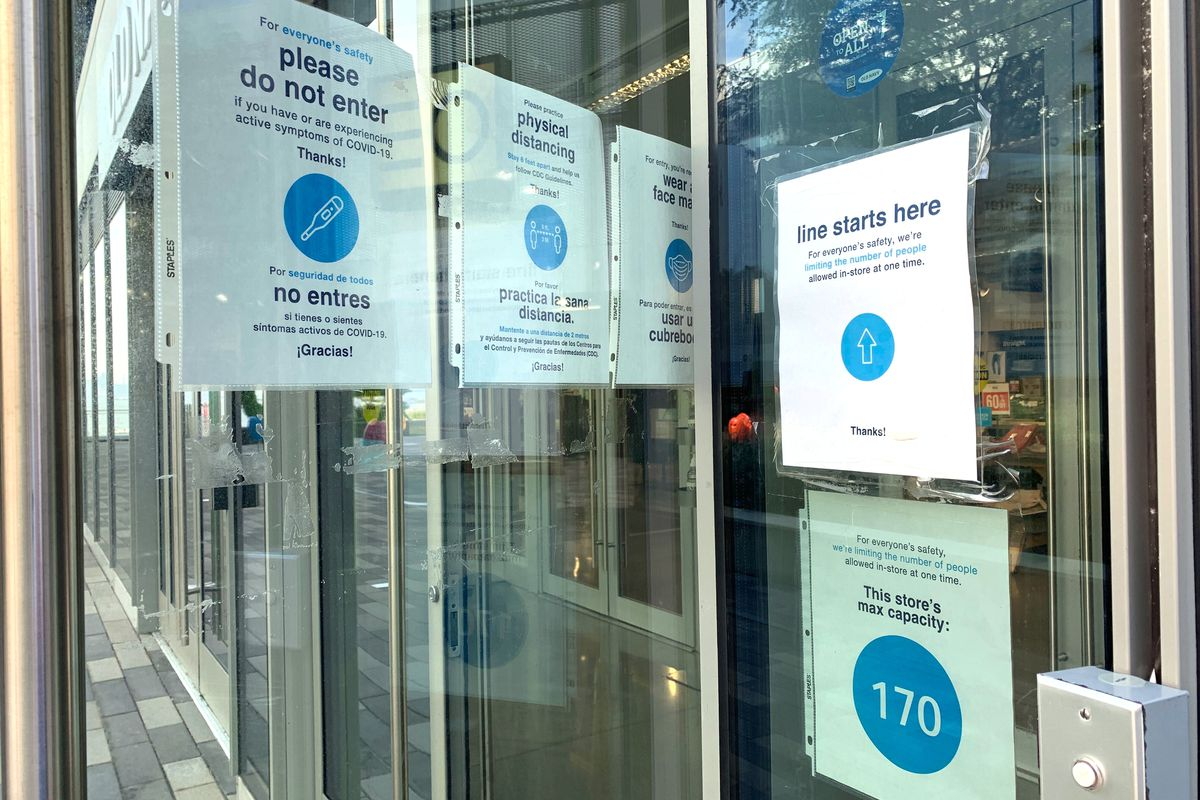 Stores in Staten Island's Empire Outlets display coronavirus safety measures, Aug. 25, 2020.