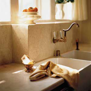 <p>Stone is available in standard-size tiles as well as slabs, which are cut to order. Slabs are more expensive than tiles, but their hefty, timesless appearance can't be matched.</p>