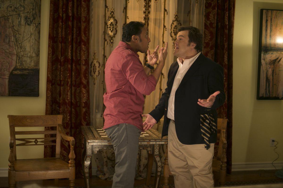 Aasif Mandvi and Jack Black in The Brink on HBO.