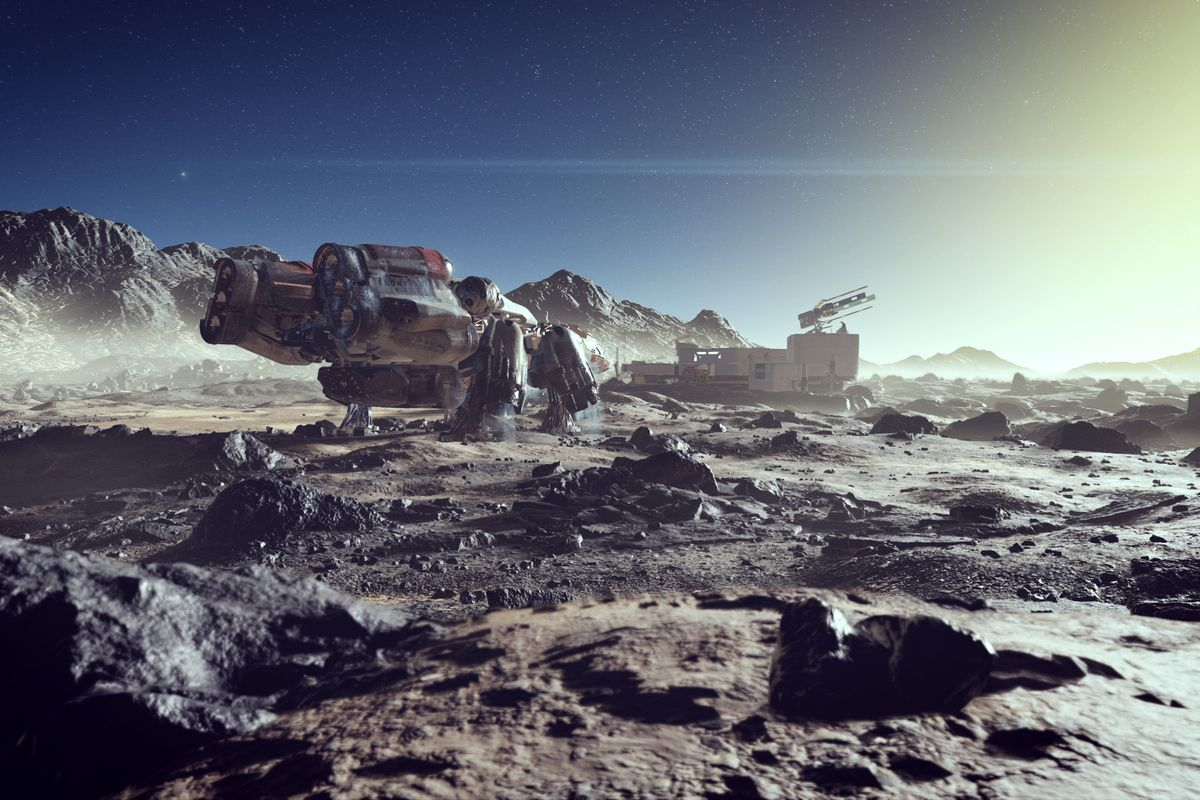 """a large spacecraft marked """"NG1350"""" with a base behind it, sitting on the rocky surface of a planet in Starfield"""