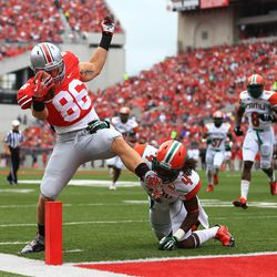 Heuerman stretches for the TD.
