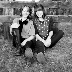 Lindsey Stirling poses with her sister and co-author, Brooke S. Passey.