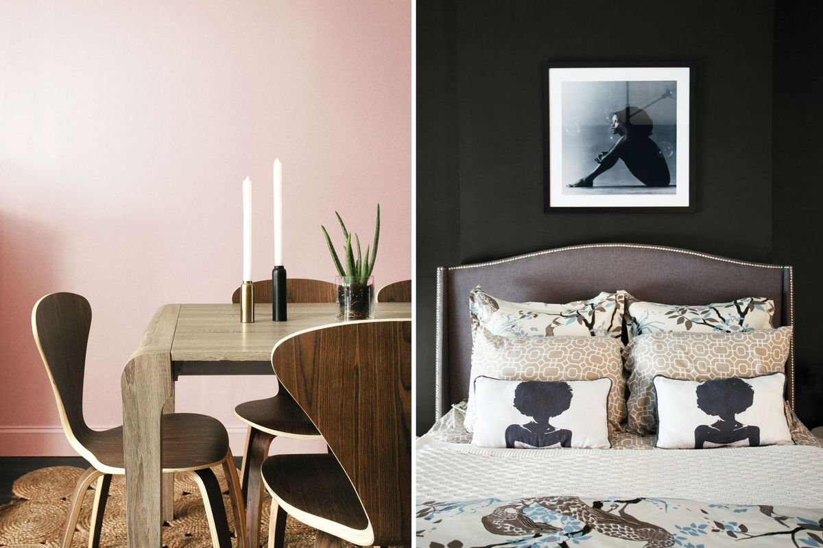 Two photos side by side; one of dusty pink wall in dining room, and the other of a dusty black hue on the wall behind a bed.