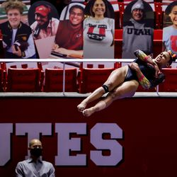 Utah's Jaedyn Rucker competes on the vault during a meet against Arizona at the Huntsman Center in Salt Lake City on Saturday, Jan. 23, 2021.