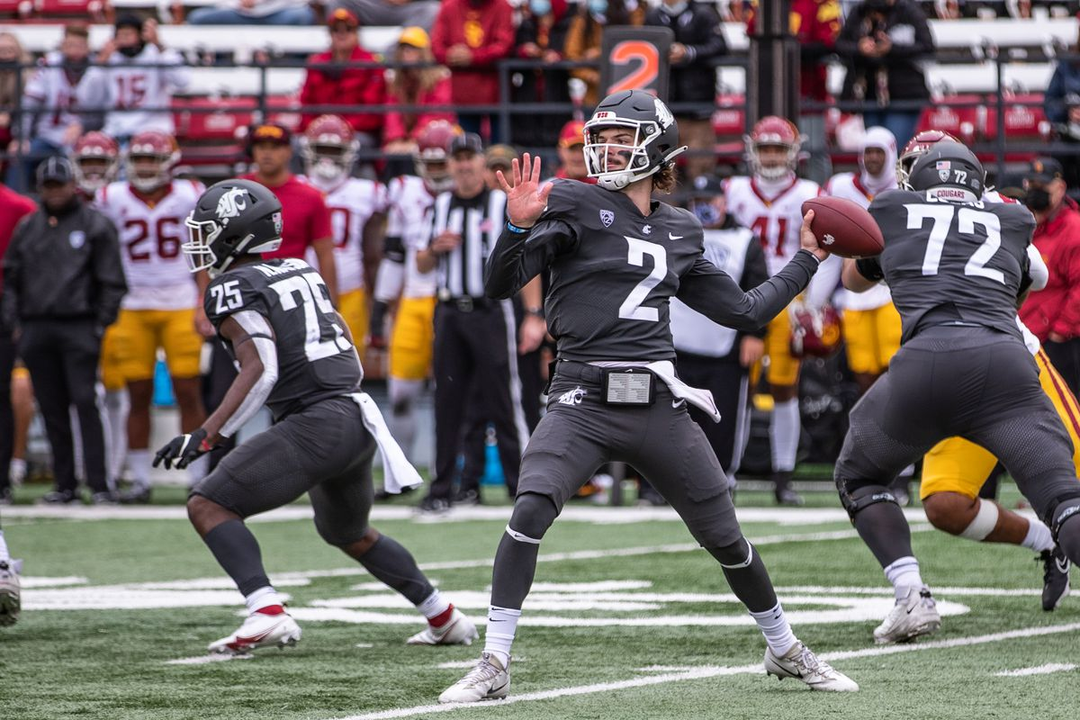 PULLMAN, WA - SEPTEMBER 18: Washington State quarterback Cammon Cooper (2) throws a pass during the second half of a PAC 12 conference matchup between the USC Trojans and the Washington State Cougars on September 18, 2021, at Martin Stadium in Pullman, WA.