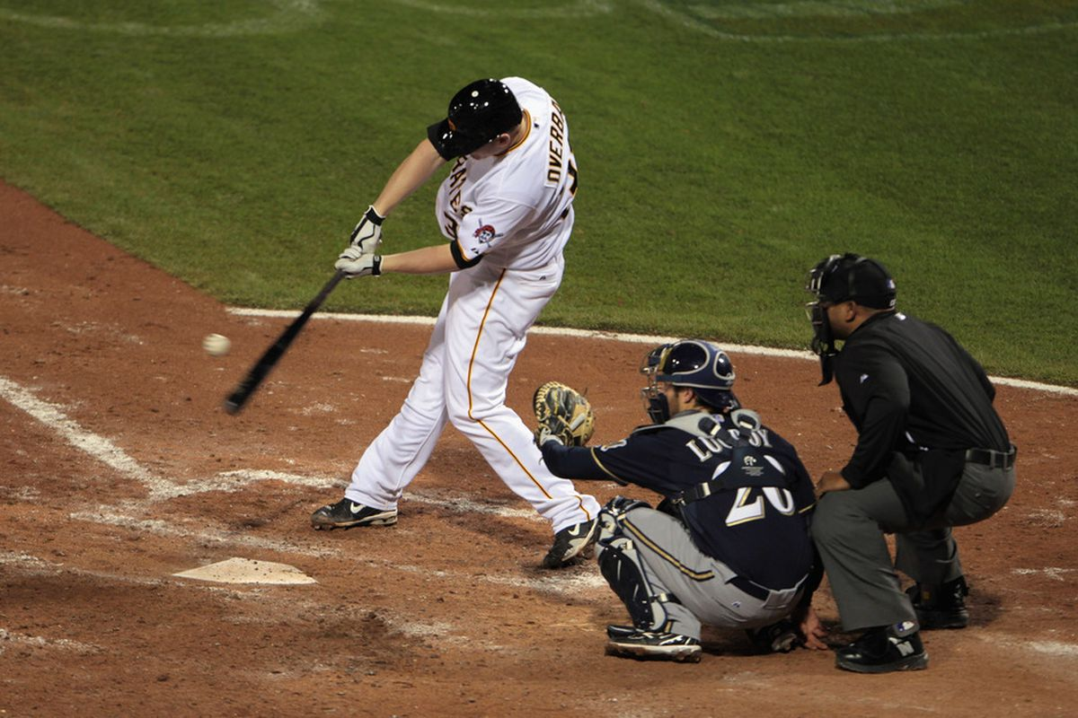 PITTSBURGH, PA - APRIL 14:  Lyle Overbay #37 of the Pittsburgh Pirates takes a swing against the Milwaukee Brewers at PNC Park on April 14, 2011 in Pittsburgh, Pennsylvania.  (Photo by Scott Halleran/Getty Images)