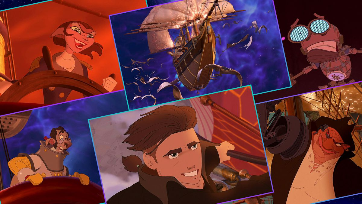 Graphic grid with six images from Disney's animated film, Treasure Planet