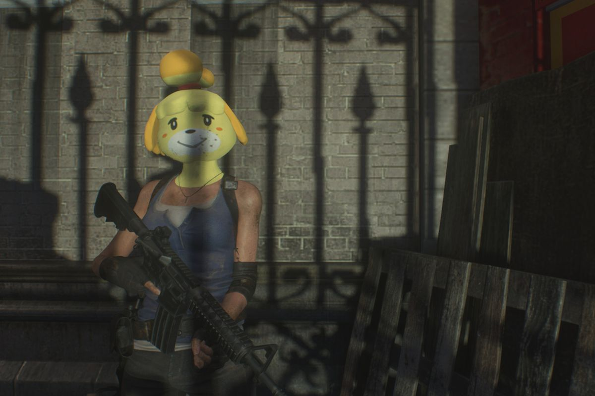 image showing Jill Valentine wearing an enormous, silly mask of Isabelle from Animal Crossing