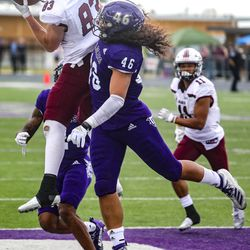 Souther Illinois Saluki wide receiver Branson Combs (83) scores the winning touchdown at Stewart Stadium in Ogden on Saturday, April 24, 2021.