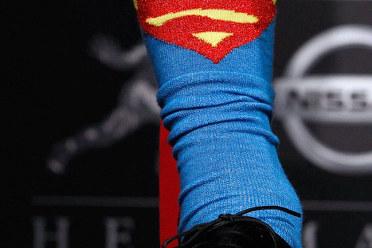 According to SI.com's most recent mock draft, Robert Griffin III will be taking his Superman socks to the Cleveland Browns.  (Photo by Jeff Zelevansky/Getty Images)