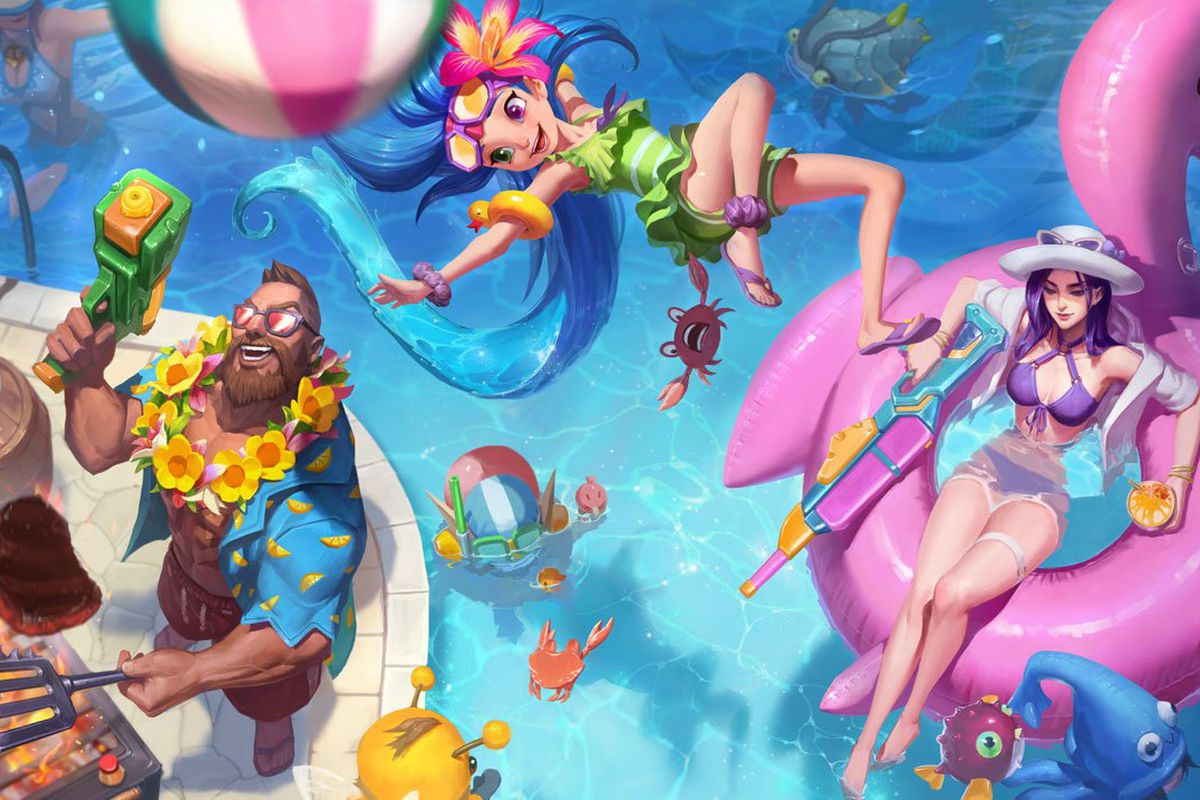2018 Pool Party Skins Gangplank, Caitlyn And Zoe Make A -7250