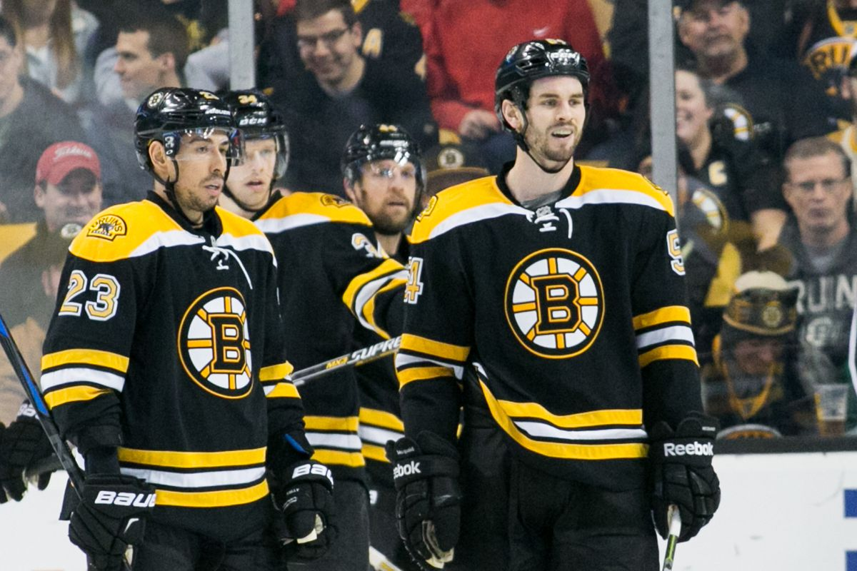 (Boston, Mass., 01/03/15) — Bruins defenseman Adam McQuaid, right, and forward Chris Kelly react after a penalty call in the second period of their NHL hockey game against the Senators at TD Garden on Jan. 3, 2015. The Bruins lost, 3-2. Herald Photo