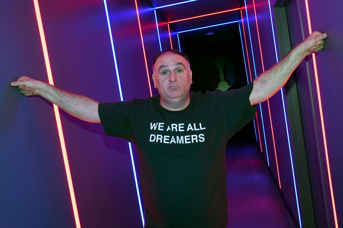 """Chef Jose Andres in a shirt that reads, """"We are all Dreamers"""""""