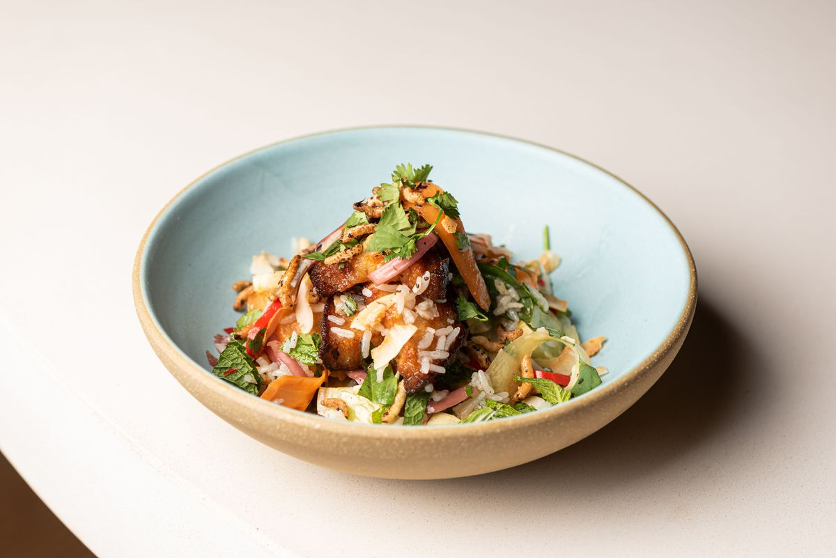 Cubes of pork belly braised and set in a bowl with rice and greens.