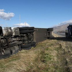 Strong winds overturned a truck on southbound I-15 between Centerville and Farmington, Dec. 1, 2011.