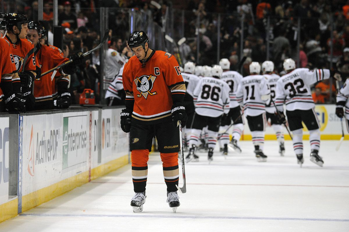 Ryan Getzlaf reacts after the Black Friday overtime loss to Chicago.