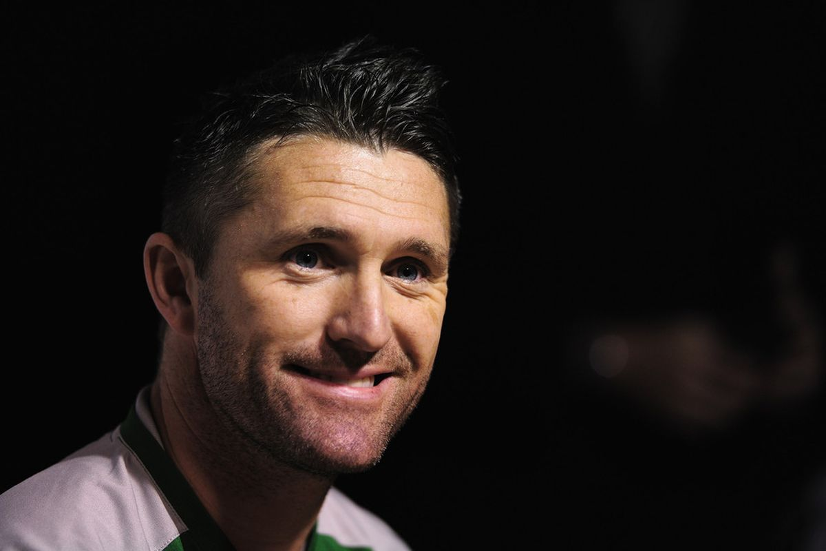 TALLINN, ESTONIA - NOVEMBER 10:  Republic of Irelands Robbie Keane talks to the media during a Republic of Ireland training and press conference at A Le Coq Arena on November 10, 2011 in Tallinn, Estonia.  (Photo by Jamie McDonald/Getty Images)