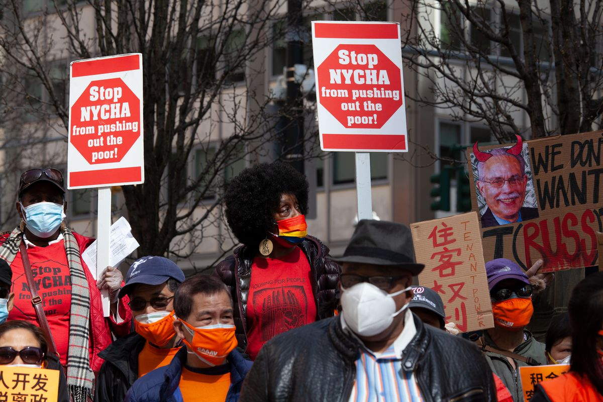 NYCHA residents held a protest in Lower Manhattan, March 23, 2021.