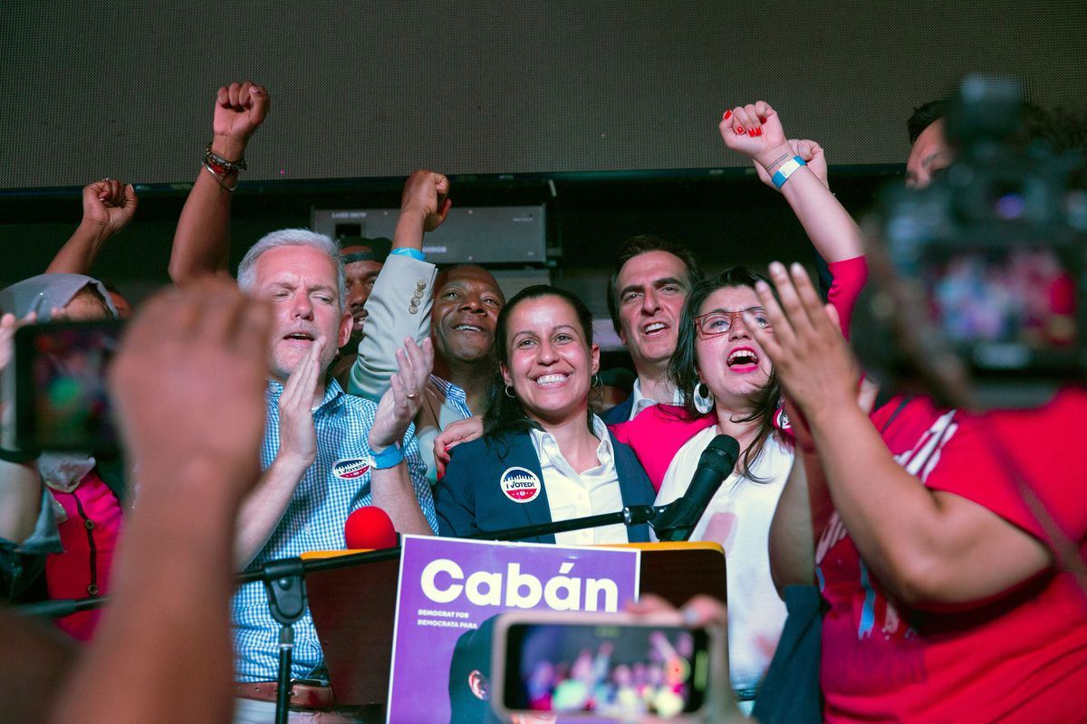 Tiffany Cabán addresses supporters at La Boom restaurant in Woodside, Queens, on June 25, 2019.