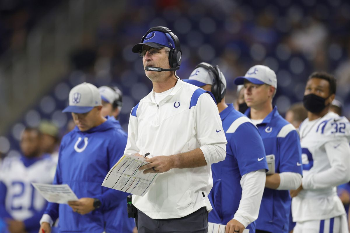 Head Coach Frank Reich of the Indianapolis Colts watches the action during the third quarter of the game against the Detroit Lions at Ford Field on August 27, 2021 in Detroit, Michigan. The Colts defeated the Lions 27-17.