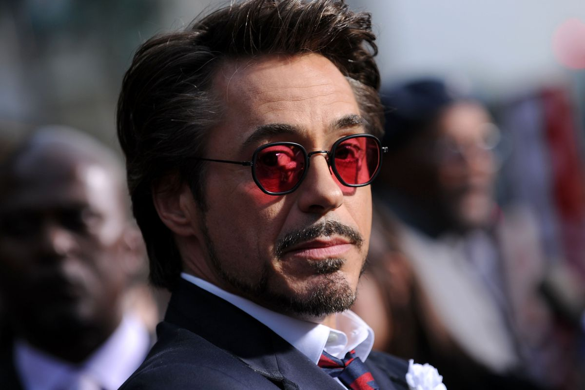 """HOLLYWOOD - APRIL 26: Actor Robert Downey Jr. arrives at the world premiere of Paramount Pictures and Marvel Entertainment's """"Iron Man 2� held at El Capitan Theatre on April 26, 2010 in Hollywood, California."""