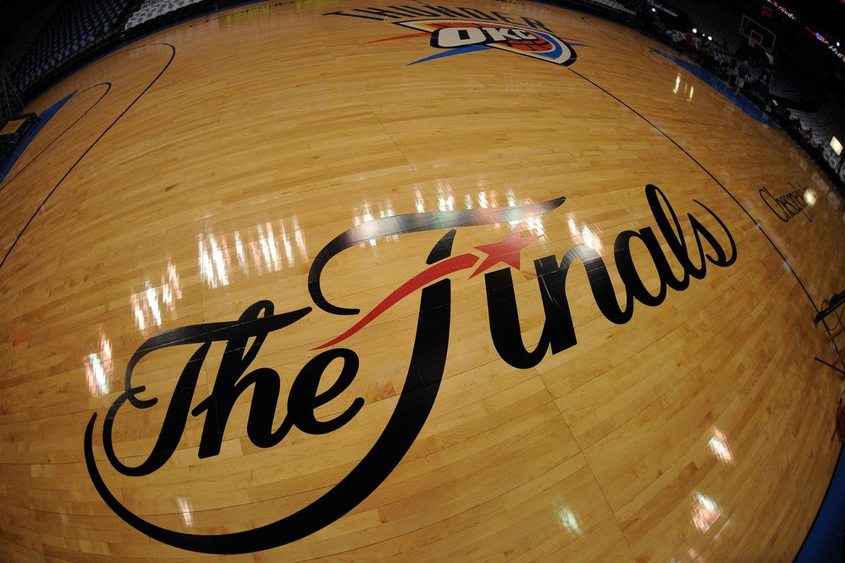 Jun 14, 2012; Oklahoma City, OK, USA; General view of the finals logo before game two in the 2012 NBA Finals between the Oklahoma City Thunder and the Miami Heat at the Chesapeake Energy Arena. Mandatory Credit: Derick E. Hingle-US PRESSWIRE