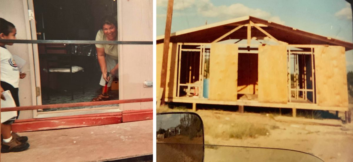 Ismael Perez, Norma's youngest son, at left, watches her work on the house she built in 2004 while her kids were at school.
